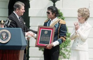 Who's bad? … Reagan gives a special achievement award to Michael Jackson in 1984, for supporting an anti-drink-drive campaign Photograph: Bettmann/Bettmann Archive