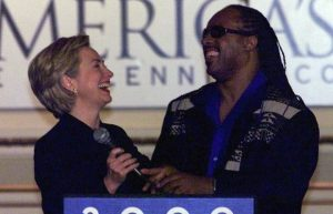 Hillary Clinton gets support from Stevie Wonder in 1998. Photograph: Gina Ferazzi/LA Times via Getty Images